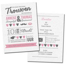 Trouwkaart Trouwkaart typografie