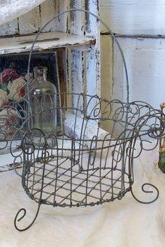 Wire galvanized basket shabby cottage by AnitaSperoDesign on Etsy, $45.00