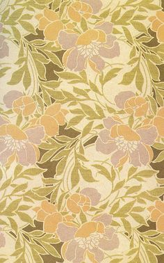 Repeat floral pattern. Love the peachy tan & the mauve-purple.