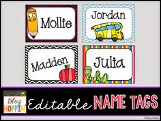 Blog Hoppin': Editable Name Tags Freebie                                                                                                                                                      More