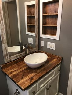 12 Clever Initiatives of How to Improve Rustic Bathroom Vanity With Vessel Sink Accepting The wonderful motif in building the bathroom will be something great to do. One of a wonderful idea of it is that the Rustic Bathroom Vanity With Diy Bathroom Vanity, Rustic Bathroom Vanities, Vessel Sink Bathroom, Wood Bathroom, Bathroom Styling, Modern Bathroom, Small Bathroom, Bathroom Ideas, Wooden Bathroom Countertop