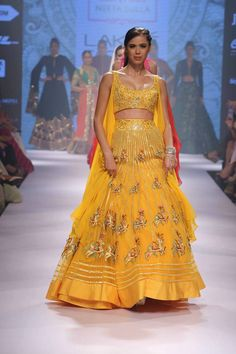 Isn't this lehenga just perfect for a mehendi ceremony? Seen at Lakme Fashion Week 2015