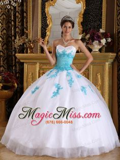 wholesale white and blue ball gown sweetheart floor-length appliques organza quinceanera dress
