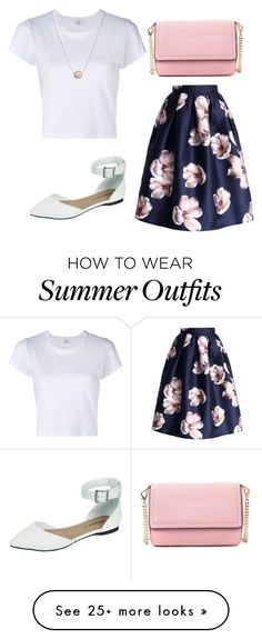 """white t-shirt and floral skirt summer outfit"" by women-outfits on Polyvore featuring RE/DONE and Breckelle's"