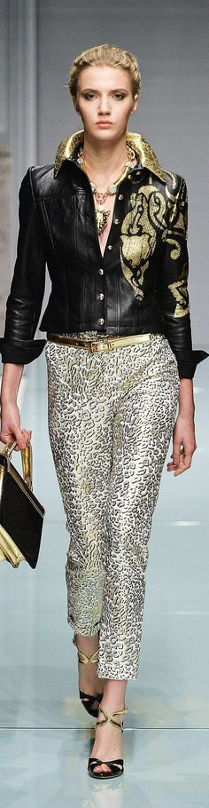 Roccobarocco black & gold jacket & silver metallic leopard print pants #UNIQUE_WOMENS_FASHION