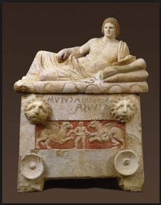 Etruscan sarcophagus C.200BC National Archaeological Museum of Perugia