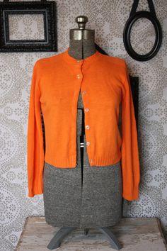 4061e02a3e2d9d Vintage 1950 s 60 s Orange Down Cardigan Sweater by pursuingandie Travel  Store