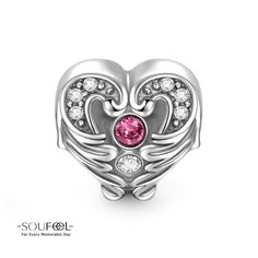 Soufeel Heart In Wings Charm 925 Sterling Silver Compatible All Brands Basic Bracelet. For Every Memorable Day