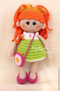 Человечки ручной работы. Ярмарка Мастеров - ручная работа. Купить Кукла Пампошка рыжеволосая. Handmade. Салатовый, подарок