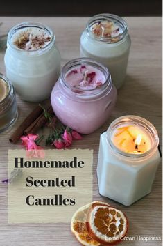 Christmas in a Jar: Homemade Scented Candles - Home Grown Happiness - MELİA Diy Candles Easy, Soy Candles, Diy Candles In Jars, Diy Candle Ideas, Diy Candle Projects, Candle Jars, Homemade Scented Candles, How To Make Scented Candles At Home, Christmas Scents