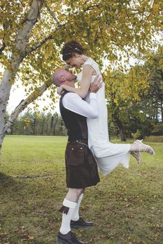 The fella looks great in his kilt! Or as he would say, 'a kilt-like object'.... Tartan didn't go with my wedding theme, so I made him order a plain colored one from Etsy!