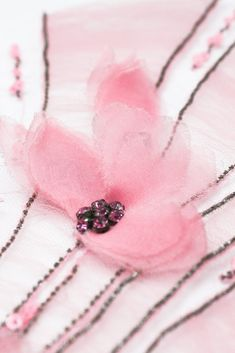 Pink Floral fabric hand beaded tulle applique with pleated tulle details. Couture Wedding fabric hand made silk flowers. By Moda Artisans Handmade Embroidery Hand Embroidery Dress, Couture Embroidery, Flower Embroidery Designs, Ribbon Embroidery, Floral Embroidery, Silk Flowers, Fabric Flowers, Floral Flowers, Tambour Beading