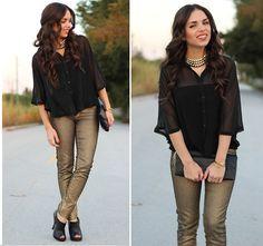 Furor Necklace, Forever 21 Blouse, Mango Jeans, Mimi Boutique Bag, Forever 21 Shoes - As metallic as it gets - Daniela Ramirez