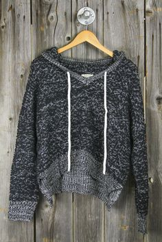 Nubby Yarn Cropped Hoodie Sweater - Black