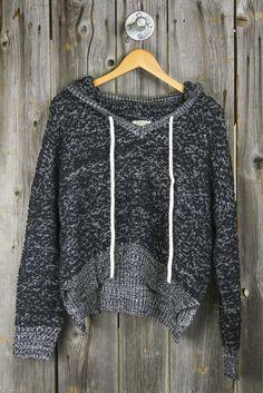 Nubby Yarn Cropped Hoodie Sweater - Black