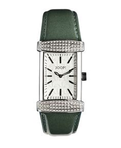JOOP - Smaragdgrüne Lederband Uhr De groene kerstkleur in je kleurenpalet