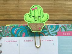 Cute Little Cactus Planner Paper Clip Succulent Gold by Personily