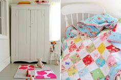 Happy colors quilt, lots of white keeps a pleasant mood - not too busy