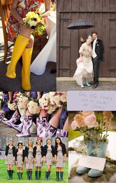 rain boots and bridesmaids, decor, and brides - wedding inspiration.... If you have a spring wedding, there is a great risk of rain.why not have these for backup?