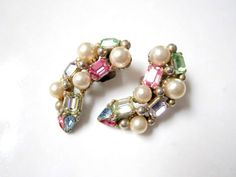 Vintage Pastel Rhinestone Clip Earrings signed by SoBejeweled