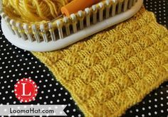 Basket Weave stitch on a Knitting Loom. Includes Free stitch Patterns and Video Tutorial as well as a Free pattern for a Baketweave Hat. Loom Knitting Stitches, Spool Knitting, Knifty Knitter, Loom Knitting Projects, Knitting Blogs, Knitting Tutorials, Cross Stitches, Basket Weave Crochet, Basket Weaving