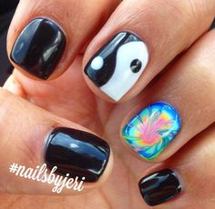 Tie dye nails with yin yang