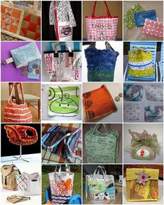 Plastic bag bags and such: fused and knitted by Nimcraft, via Flickr