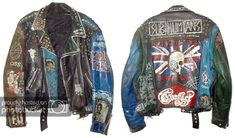 Front and back of Punk jacket Diy Leather Jacket, Leather Jackets, Subcultura Punk, Grunge Jacket, Moda Punk, Punk Jackets, Battle Jacket, Studded Jacket, Punk Outfits