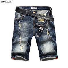 0e1981e0ef AIRGRACIAS Mens Denim Shorts 2017 Summer Straight Casual Knee Length Short  Bermuda Masculina Ripped Jeans Shorts For Men 28-40