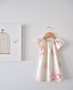 Baby Girls Shabby Chic Pink Roses Linen Peasant Dress-Vintage Inspired summer cottage lace infant toddler -Children Clothing by Chasing Mini. $45.00, via Etsy.