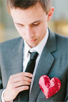 sequin heart boutonniere from Ban.do