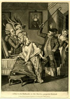 """A Hint to the Husbands, or the Dresser, properly Dressed"", satirical print by Philip Dawe, published by Sayer & Bennett, 1777."
