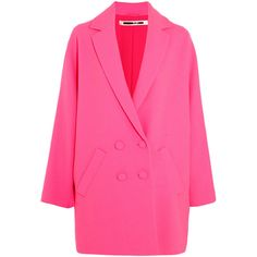 McQ Alexander McQueen Crepe coat (2.170 BRL) ❤ liked on Polyvore featuring outerwear, coats, pink coat, kimono coat, double breasted coat, mcq by alexander mcqueen and pink double breasted coat