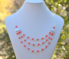 Triple Strand Statement Necklace with Bright Coral by RusticGem, $58.00