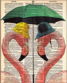 Two FLAMINGOS One Umbrella Dictionary Book Page by PatricianPrints