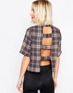 For some reason this gives me a Ladies of London vibe : ASOS High Neck Top With Open Back In Check
