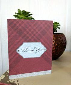 Thank You Maroon Plaid and Snow handmade card by PeaceMealArt on Etsy