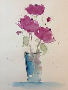 ORIGINAL AQUARELL Aquarellmalerei Blumenstrauß Bild Kunst Art Watercolor Flowers Handmade #watercolorarts