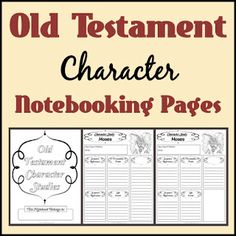 Old Testament Character Study Notebooking Pages for when the boys are old enough to do as part as their Bible Time during school