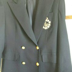 """Ralph Lauren Blazer Black double breasted blazer with amazing emblem on breast pocket. Brass buttons on front and cuffs all intact.  29"""" shoulder to hem, and sleeve is 24"""".  100% wool, dry clean.  The only flaw I can find is that the interior no show button is missing, pictured. Overall a beautiful jacket in excellent used condition.  I don't trade. I consider all offers. Thanks for looking. Ralph Lauren Jackets & Coats Blazers"""