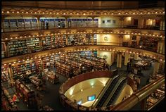 """El Ateneo in Buenos Aires.  This world-renowned bookshop is a must-see, literary-inspired excursion or not. Housed in a former theatre, the appropriately named Grand Splendid, the cavernous space with its preserved box seats and opulent display of books is a paradise for the book lover. Borges would have approved – despite being blind for the last 30 years of his life, Borges poignantly said, """"I have always imagined that paradise will be some kind of library."""""""