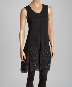 Look at this Black Lace Sleeveless Linen-Blend Tunic - Women on #zulily today!