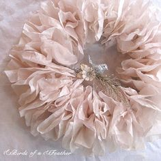 wreath made out of coffee filters, how clever