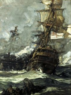 """""""The Brunswick Caught Anchors With Her Enemy""""  - Frank Brangwyn"""