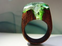Sucupira wood ring AZURE FALLS. Womens wooden ring. Wood ring resin. Wooden fashion jewelry. Waterfall ring. In stock 5.5 size by GeppettoJewelry on Etsy