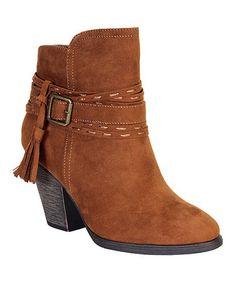 b3ccaf238c80 Bamboo Cognac Tension Buckle Tassel Ankle Boot