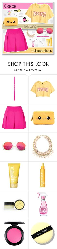 """""""Trending: Coloured Shorts and Crop Tops"""" by fashionablemy ❤ liked on Polyvore featuring Sigma, Miss Selfridge, Anya Hindmarch, Clinique, Milk + Honey, Moschino, MAC Cosmetics, Bobbi Brown Cosmetics, Celebrate Shop and croptop"""