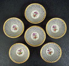 6 Antique Schierholz Dresden Nut Baskets