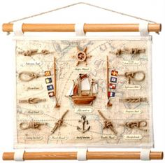 """Nautical 18 x 14 Canvas Knot Display. Wood doweled hanging canvas scroll with nautical code flags on flag poles and more.  Fifteen 3-Dimensional objects; including polystone signal flags and figures. 18"""" wide x 14.25"""" tall. All hand sewn onto a map themed canvas scroll. Nice.  Nice gift. Hangs easily. Dowel is 1"""" diameter. Brass plates labeling each individual knot. Examples: Sheet Bend, Bowline etc."""