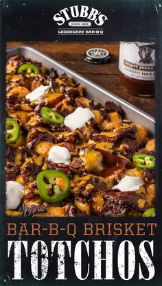 Looking for an easy way to use the leftover brisket in your fridge? Top tater tots with cooked brisket, cheese, and Stubb's Smokey Sweet Brown Sugar Bar-B-Q Sauce for a legendary appetizer or snack! Mexican Food Recipes, Beef Recipes, Cooking Recipes, Healthy Recipes, Smoker Recipes, Tater Tots, Appetizer Recipes, Dinner Recipes, Brenda
